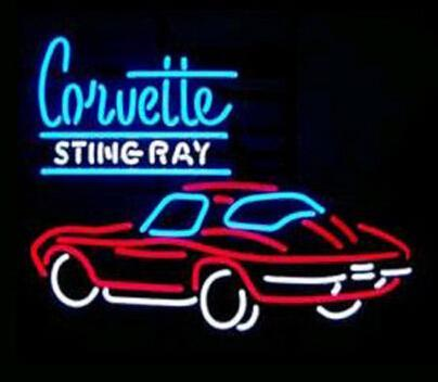 "CORVETTE STING RAY Neon Sign Handcrafted Custom Real Glass Tube Car Store Shop Company Dealer Advertising Display Neon Signs 24""X20"""
