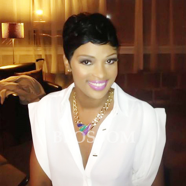 100% Human Natural Hair Web Celebrity Short Layered Cut Wigs For Black Women African American Short Pixie Cut Glueless Bob Wigs