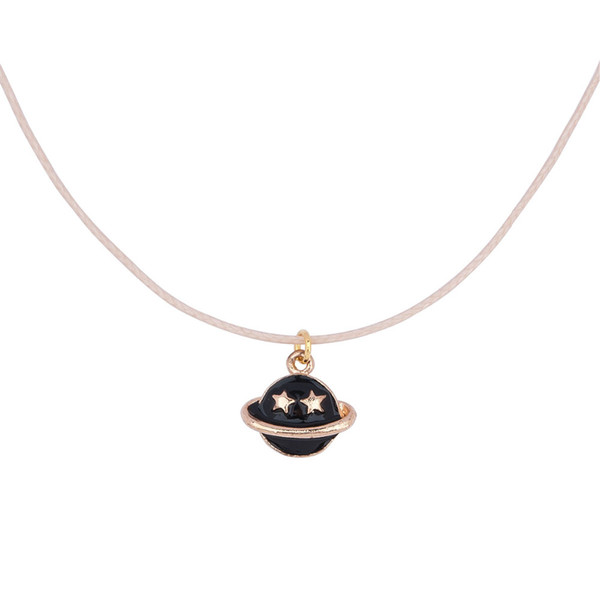 Wholesale-8SEASONS Flesh-colored Wax Rope Gold-plated Black / White Enamel Saturn Pendant Lobster Clasp Extend Chain Necklace About 45cm
