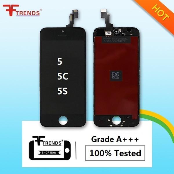 Para iphone 5s 5 5c se display lcd touch screen digitador assembléia completa com fone de ouvido anti-poeira malha livre instalado baixo preço 20 pçs / lote