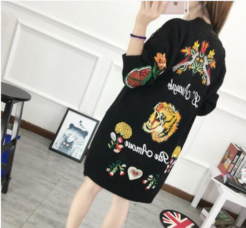 New Fashion Women's Casual Jacket embroidery tiger flowers butterfly knitting cardigan sweater Woman Long Coat black