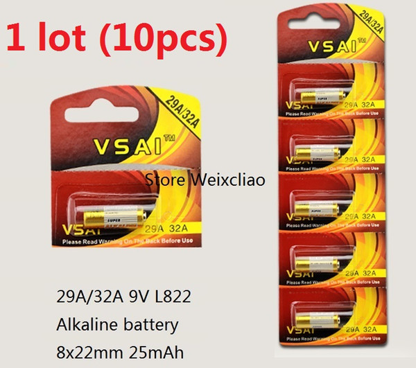 10pcs 1 lot 32A 29A 9V 32A9V 9V32A 29A9V 9V29A L822 dry alkaline battery 9 Volt Batteries Card VSAI Free Shipping