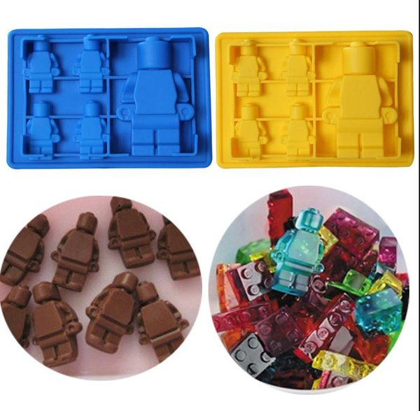 Fun lego man robot Cocktails Silicone Mold Ice Cube Tray Chocolate Fondant Mould diy Bar Party Drink free delivery
