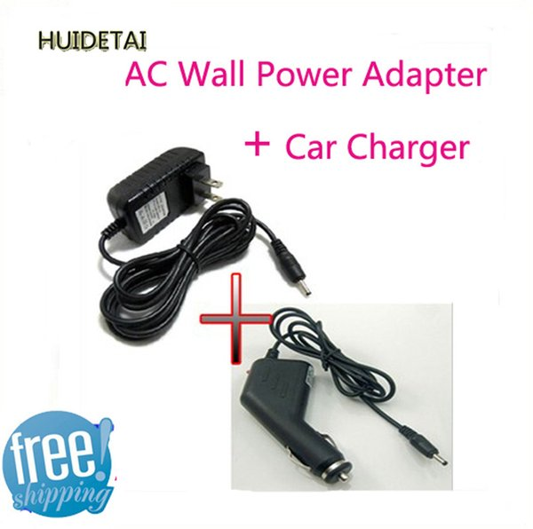 Wholesale- 5v 2A 2.5*0.7mm Universal AC / DC Power Supply Adapter Wall Charger + DC Car Adapter Charger For Android Tablet Pc