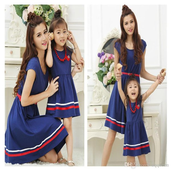 2017 Summer Family Clothing Mother Daughter Dresses Mom and Daughter Naval Academy Dress Matching Outfits Dress for Kids and Women Gift