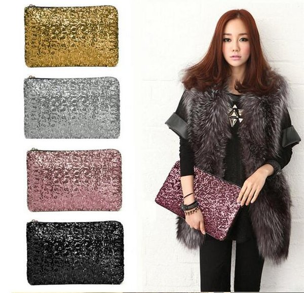 2016 fashion Dazzling Sequins Women Ladies Sparkling Bling Sequin Clutch Purse Evening Party Handbag Bag Glitter Spangle Day free DHL