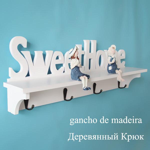 White Sweet Home Hanger for Keys Carved Wooden Wall Hook New Clothes Rails gancho de madeira Mini Coat Rack