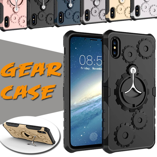 Mechanical Gear TPU+PC Hybrid Armor Running Armband Stand Holder Cover Case For iPhone XS Max XR X 8 7 6 Plus Samsung Galaxy Note 9 S9 S8 S7