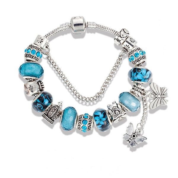 best selling Charm Bracelet 925 Silver Bracelets For Women Royal Crown Beads butterfly and owl and flower charms Diy Jewelry christmas gift