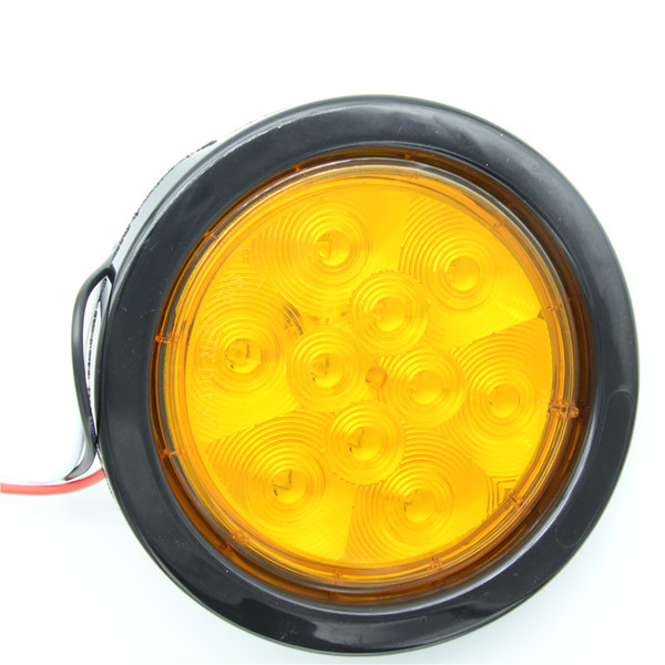 Pair 12V 10 LED Tail Turn Lamp with Bracket Round Amber Truck Trailer DOT SAE 10 Diodes LED light with Grommet and connector