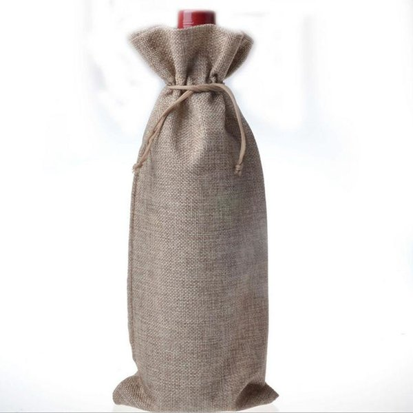 Jute Wine Bags Champagne Wine Bottle Covers Gift Pouch burlap Packaging bag Wedding Party Decoration Free shipping