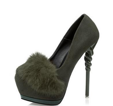 Plus:34-39 Stiletto Spring/Autumn 14cm thin heel heel Flock women Faux Fur shoes sexy wedding pumps sapato feminino