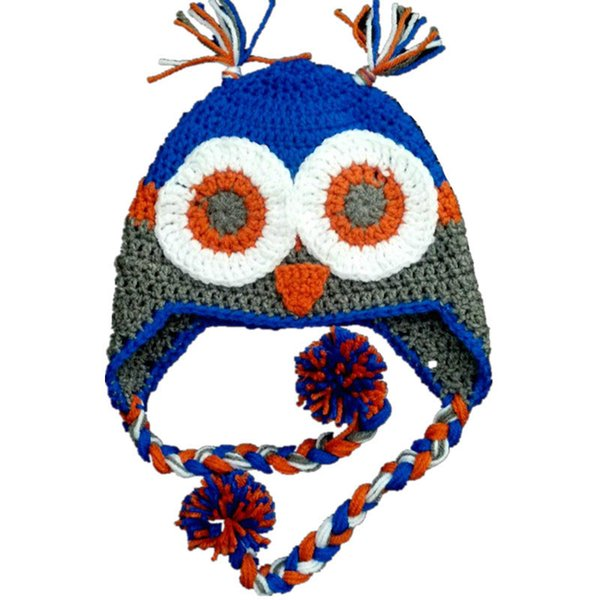 Crochet Football Hat Handmade Crochet Baby Boy Girl Owl Animal Hat Infant Newborn Photo Props Toddler Pompom Winter Hat Baby Shower Gift