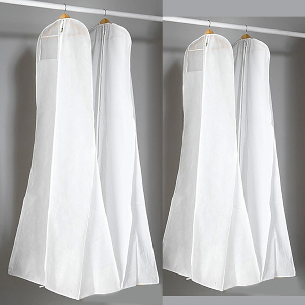 top popular Thick Nonwoven White Dust Bag For Wedding Dress Prom Evening Gown Bags 180*70*25 CM Garment Cover Travel Storage Dust Covers 2019