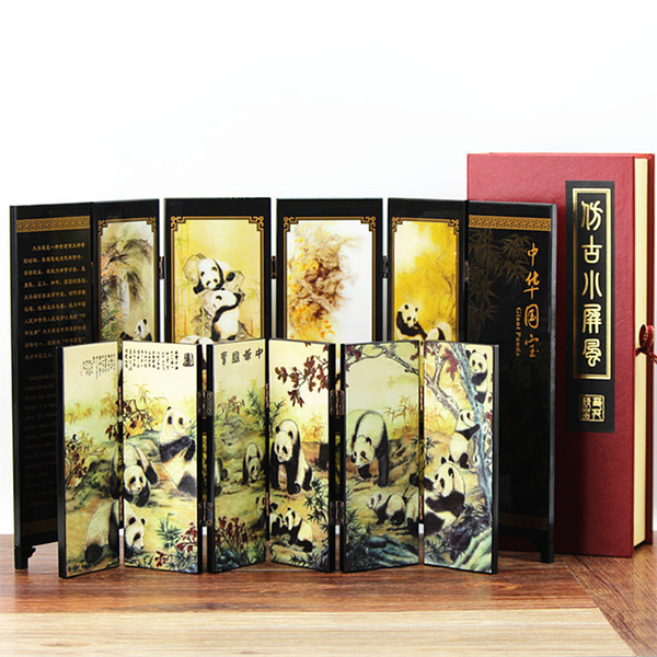 China wind panda small screen office Home Furnishing lacquer antique ornaments jewelry Chengdu souvenirs to send friends