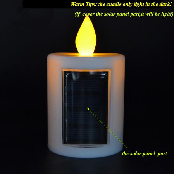 Luz de la vela solar sin llama sin humo para la decoración de la mesa de la ventana de la iglesia en el hogar en el hogar por Sunshine Charging con luz amarilla