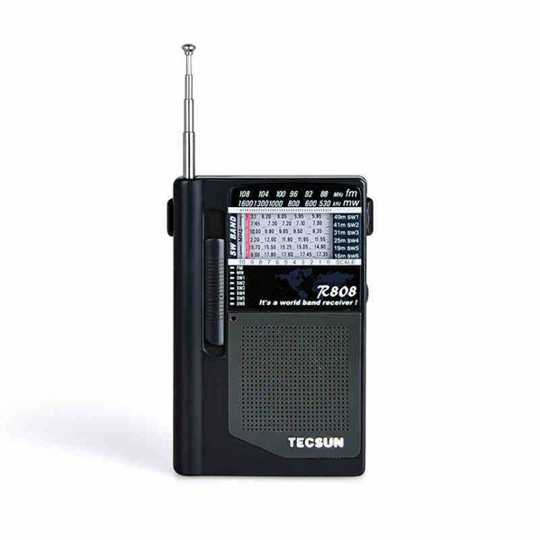 Wholesale-Tecsun R-808 World AM FM Radio Full Band Receiver Portable Mini High Sensitivity FM MW SW Radio Pocket Size With Earphone Black