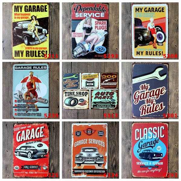 Beauty Automobile My Garage My Rules Ancient Metal Poster Wall Decor Bar Home Vintage Craft Gift Art Iron painting Tin Poster(Mixed designs)