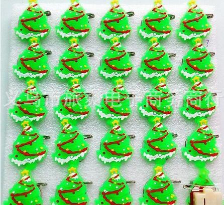 Yeni Karikatür 25 adet / takım Noel ağacı PVC LED Rozet Yanıp Sönen Broş, Çocuk Parti Noel sevgililer Günü Dekorasyon F-10