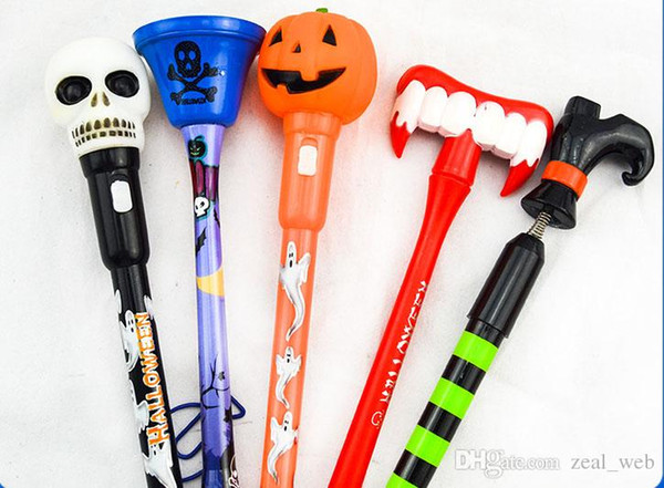 DHL halloween ballpoint pens 0. 5mm blue Refill pumpkin skull tooth pen writing pens stationery mix color