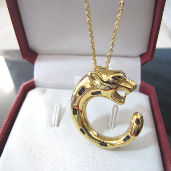 Klassische europäische und amerikanische Mode Leopard Anhänger Kupfer Halsketten Designer 18 Karat Gelbgold vergoldet Partei Schmuck für Frauen oder Männer