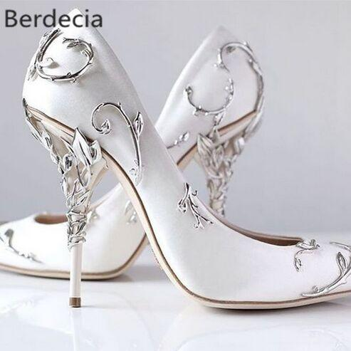 Ornamental Filigree Leaves Spiralling Naturally Up Heel White Women Wedding Shoes Chic Satin Stiletto Heels Eden Pumps Bridal Pink Shoes Pumps Shoes