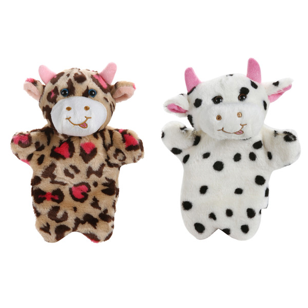 best selling 1 Pc Cute Milk Cow Hand Puppet Glove Baby Kids Child Educational Soft Doll Plush Toy Glove 2 Styles For Choose