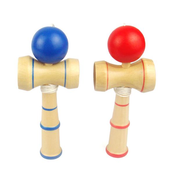 Free DHL Hot Kid Kendama Ball Japanese Casual Traditional Juggling Game Wood Hand-eye Balance Skill Ball Educational Toys Plain Colors