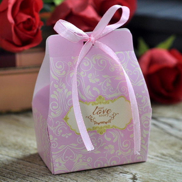 Wedding Candy Boxes Baby Shower Party Favors Bridal Decoration Paper Box Gifts Favor with Ribbon Bags Christmas Day Candies Chocolates