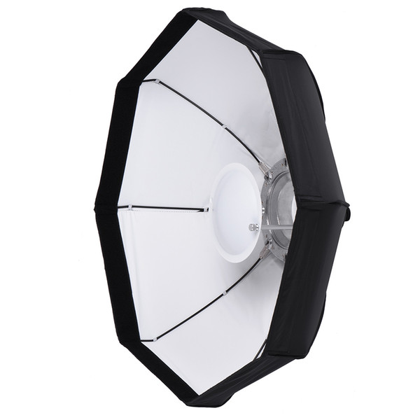 "8 Pole 80cm/31.5"" Rubber Foldable Collapsible Beauty Softbox Flash Diffuser Reflector for Bowens Mount Studio White/Black"