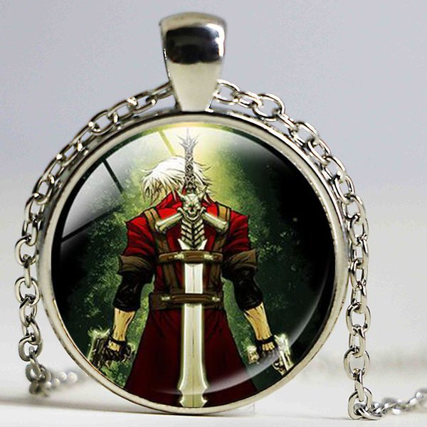 Wholesale Devil May Cry Dante Pendant Necklaces Men Necklace Dmc Devil May Cry Glass Round Dome Anime Games Jewelry Gifts For Chidren Horse Pendant