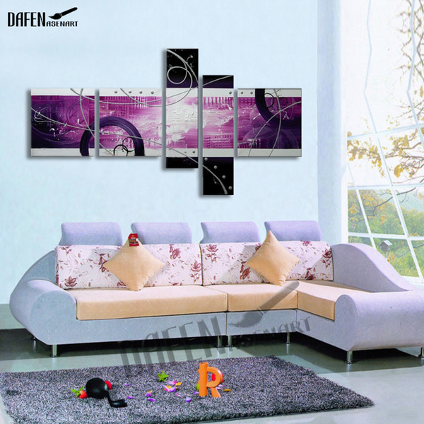 Hand Painted Circle Abstract Oil Painting Modern Canvas Wall Painting Unframed 5pcs/set Artwork for Living Room Home Decoration