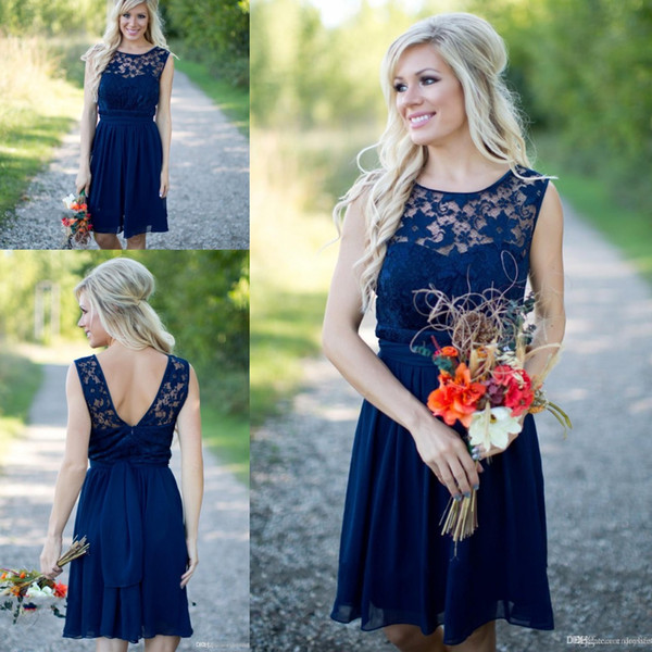 best selling Country Style 2019 Newest Royal Blue Chiffon Lace Short Bridesmaid Dresses For Weddings Cheap Jewel Backless Knee Length Casual CPS579