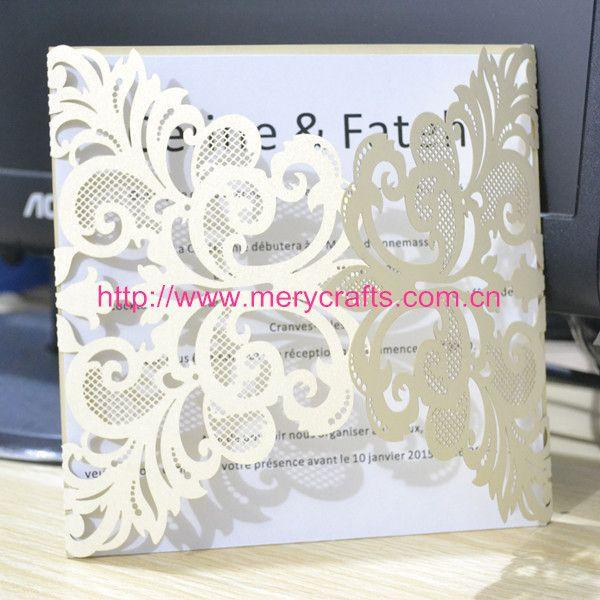 50pcs / lot gros fantaisie invitations de mariage laser découpé invitation de mariage ivoire