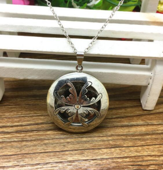 """Premium Aromatherapy Essential Oil Diffuser Necklace Bronze Locket Pendant, Statement Choker Jewelry 24"""" Long Chain Necklace and felt pads"""