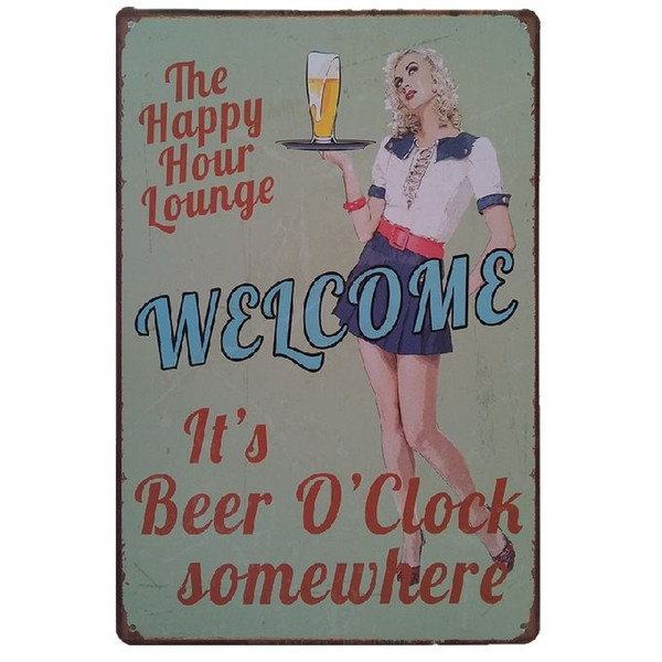 It's beer o'clock somewhere Retro rustic tin metal sign Wall Decor Vintage Tin Poster Cafe Shop Bar home decor