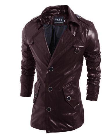 HOT vente Coupe-vent en cuir PU Vestes à capuche vêtements hommes Survêtement patchwork Hiver parka Manteaux Vêtements pour hommes Vêtements Ordre du mélange