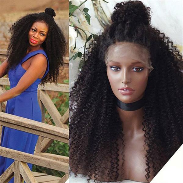 Hot Sale 1B Indian Virgin Human Hair Full Kinky Curl Full Lace Wig for Black Women Free Shipping