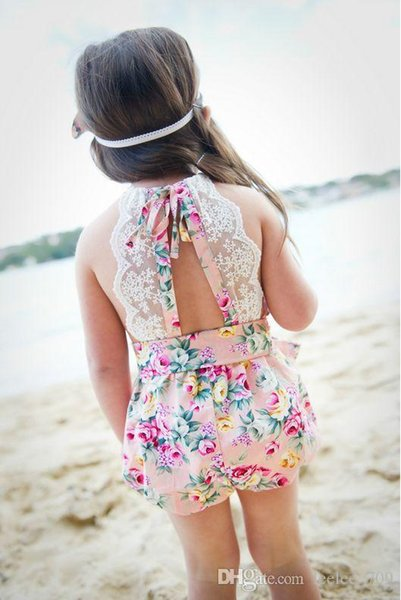 INShot baby girl toddler Summer clothes 2piece set outfits lace floral romper onesie bloomers diaper covers playsuits Cotton + Bow headband