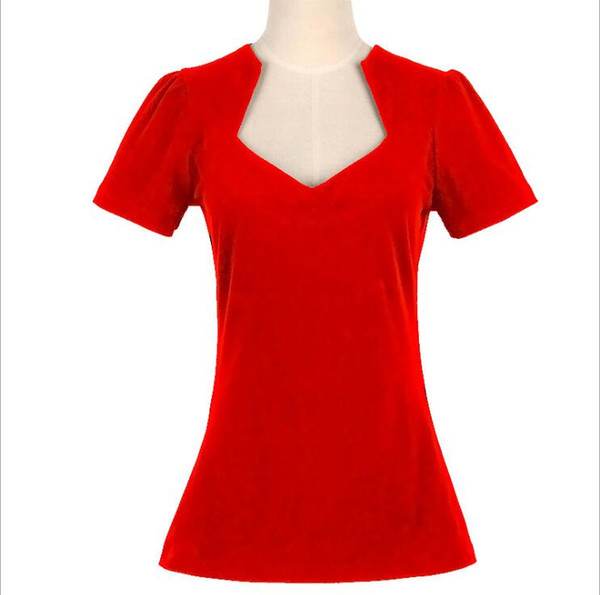 Women Rockabilly Retro Vintage Red Pin-up Top Shirt Sweetheart Design Cotton Top Pinup Clothing