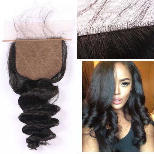 Mongolian Human Hair Loose Wave Silk Base Closures Malaysian Indian Brazilian Peruvian Hair Closures with Baby Hair FDSHINE