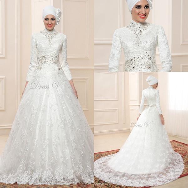 Lace Ball Gown Long Sleeve Muslim Wedding Dresses Hijab 2017 Vintage Bridal High Neck Islam