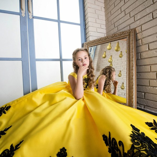 Princess Satin Lace Applique Yellow Party Prom Dress Children Kids Long Little Girls Pageant Dresses Yellow Size 8 10 12