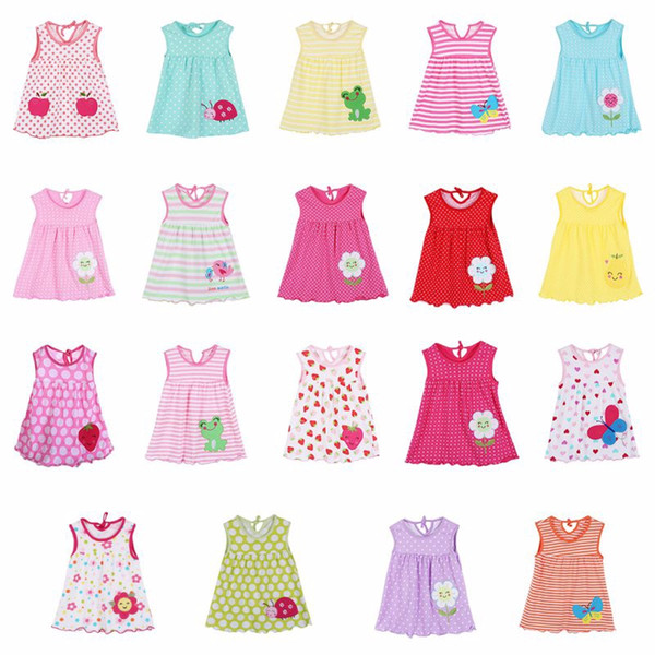 best selling 19 Style Summer Baby leeveless Printed A-Line Dress One Piece Mini Dress Cute Infant Baby Girls Dress 1-2Y