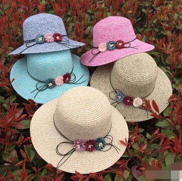 2017 New Women Straw Hat Fashion Sunshade Beach Hats Bowknot Sun Hat Caps Ladies Wide Brim Hats Straw Sun Cap 24 pcs free shipping