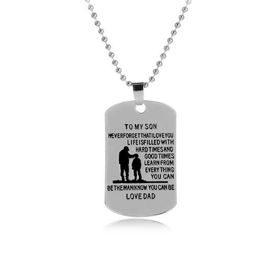 JLN Customized Necklaces Dog Tags Dad To Son Pendant Personalized Name Father Son Dog-tag Engraving Alloy Pendant Necklace