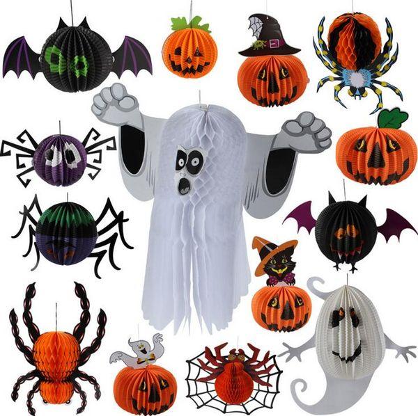 Halloween Lantern Ornament (nicht elektronische Kerzen) Papier Hexe Fledermäuse Spinne mit Seil Home Party Bar Kindergarten Ornament Prop