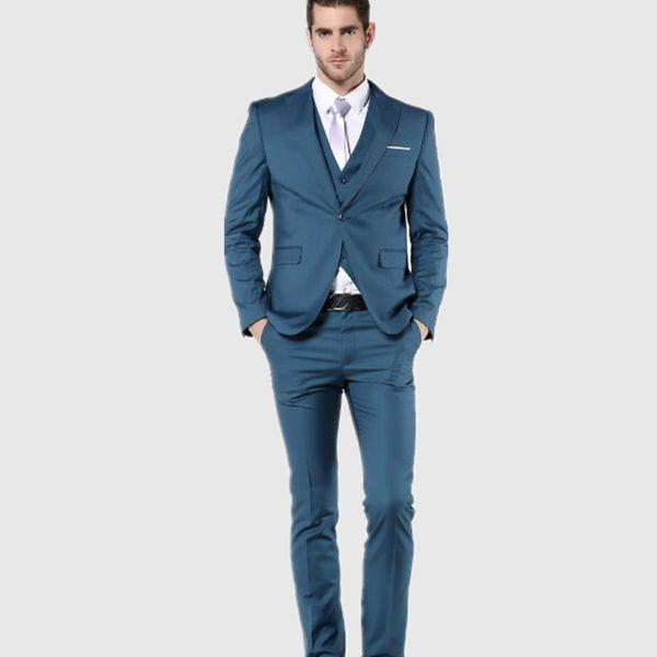 New Arrial Mens Suit Slim Fit Latest Coat Pant Designs groom Suits tuxedo Blue Wedding Suits For Men(jacket+vest+pants)