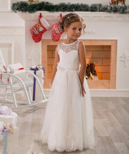 2017 Cheap Cute A Line Lace Flower Girls Dresses Baby Girls Birthday Wedding Party Wear Jewel Neck Flower First Communion Gown Custom Made