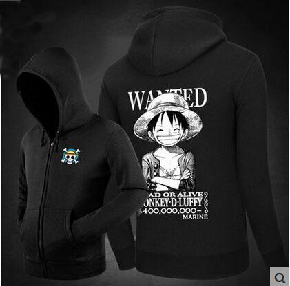 One Piece Luffy Moletom Com Capuz 100% Algodão Padrão Impresso Moda Masculina Com Capuz de Lã Com Zíper Cardigan Suéteres